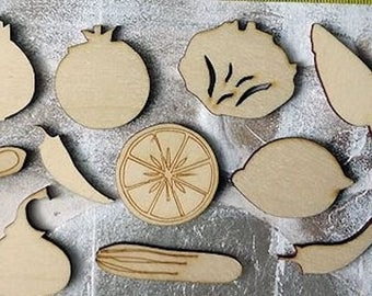 set of vegetable 278 embellishment wooden creations