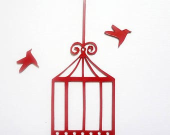 cage and birds in plexi for scrapbook pages