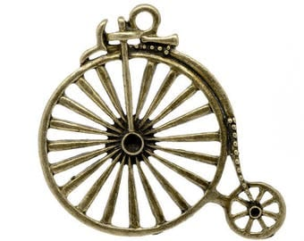 X 5 charms bicycle bike bronze 50x46mm