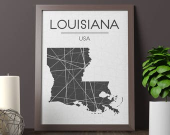 Louisiana Map Print, Louisiana Wall Art, Louisiana Room Decor, State Sign, Louisiana State Print, Louisiana Print, Louisiana Printable, JPG