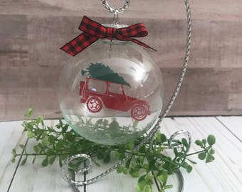 Red Jeep Floating Ornament