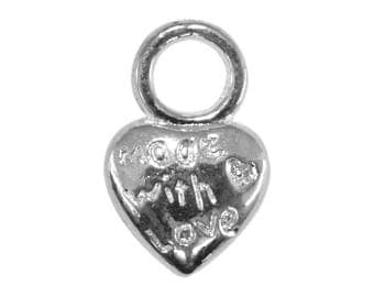 10 bc231 silver metal heart pendants charms