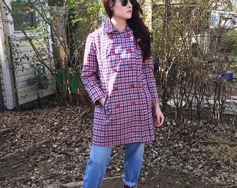 Vintage 60s Red, White, & Royal Plaid Peacoat, Size Large