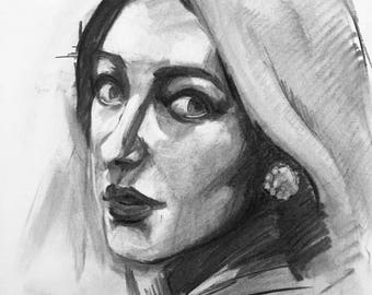 Custom Messy Charcoal Portrait