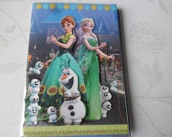 x 1 greeting card 3D pattern frozen multicolored + envelope 19.5 x 13.5 cm