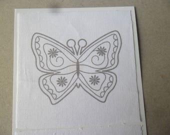 x 2 textile designs butterfly, bird white 100% cotton 10 x 10 cm