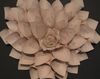 Rose and book page wreath