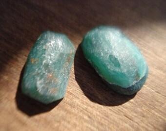 Rough Raw Green Emeralds - 2 Raw Green Emeralds - Beautiful Genuine Raw Emeralds Lot MG1117