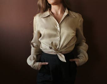 Gold Metallic blouse / Shiny gold button down blouse top shirt / minimalist blouse / minimal blouse / modernist blouse / vintage 90s shirt M