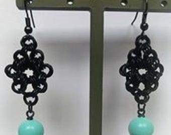 Chain mail earrings with turquoise