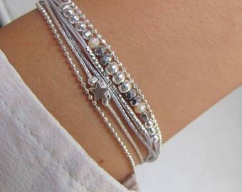 Beige bracelet multi strand Sterling Silver 925