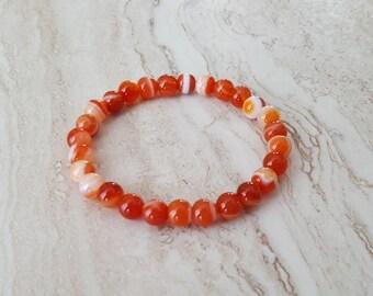 ORANGE STRIPED AGATE stretchy healing bracelet 6mm stacking beaded bracelet, intention stretchy bracelet - Stability & Balance