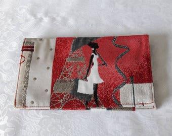 "High heel fabric checkbook ""starlet in Paris"", black cotton lining"