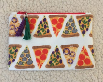 Pizza - slice - back to school - zippered case - pencil case - zippered pouch - makeup bag - small bag