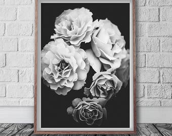 Flowers Print, Digital Download, Floral Poster, Black And White, Nature Photography, Scandinavian Poster, Flower Art, Modern Roses Print,