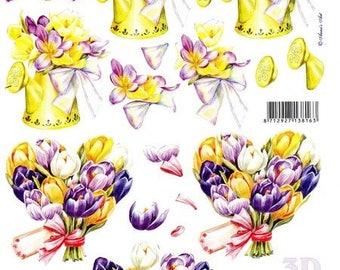 1 x sheet for decoupage 3D spring BOUQUET (8215644)