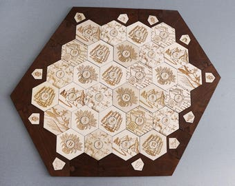 Settlers of Catan Board | 5-6 Players FULL. Handmade. Custom, Wood, Laser Cut. Board Game Pieces. Gift for gamer. In stock.
