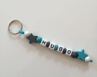 """Turquoise and gray key fob """"Hugo"""" to customize"""