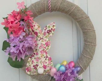 Handmade Foral Rabbit Easter Wreath