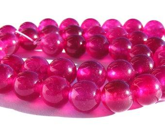 8 agates de 8 mm perles pierre magenta.