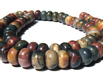 10 jaspes picasso Abacus de 8x5 mm perles pierre multicolore.