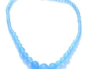 Collier aquamarines composé de 67 perles bleues de 7,8,10,12 et 14 mm.