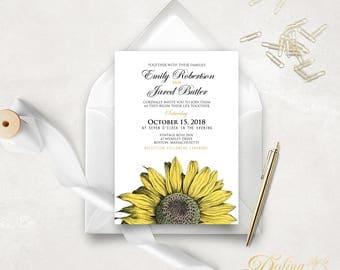 Printable Wedding Invitation Country Wedding Invitation, Fall Wedding Invite Rustic Invitation, Sunflower Wedding Invitation Editable PDF