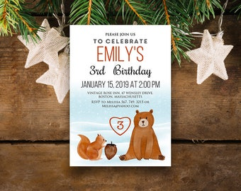 Woodland Animals Baby Birthday Invitation Winter Baby Birthday Printable Invite Watercolour Bear Squirrel Any Age Bday Party Invite Editable
