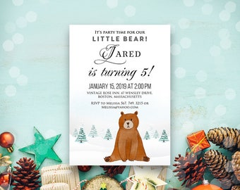 Bear Birthday Invitation Winter Baby Birthday Printable Invites Watercolour Woodland Forest Animal Little Cub Any Age Bday Party Invitations