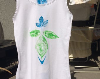 Leaf Print Hand Painted Tank Top XS
