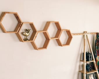 "Set of 5 Medium Hexagon/Honeycomb Shelves (Reclaimed Wood) 3.5"" Deep"