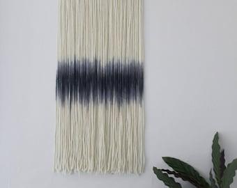 Ombre long Macrame Yarn Wall Hanging dip dye blues/blacks