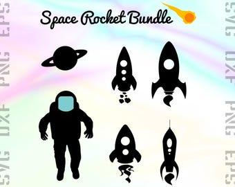 Rocket SVG Files - Rocket Clipart - Rocket Cricut Files - Astronaut Rocket Dxf Files - Rocket Cut Files - Rocket Png - Svg, Dxf, Png, Eps