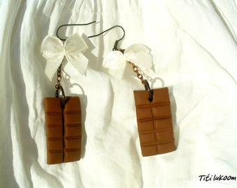 These chocolate polymer clay earrings