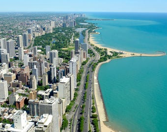 Canvas Print, Chicago Shoreline, Chicago Skyline, Illinois, City, Travel, Chicago Travel, Chicago Photography, Photo, Beach