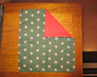 Green Pattern Handkerchief, Red Backing - Hand-Sewn