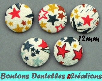 Buttons covered with Liberty - A Adeladja - colored stars - 12mm