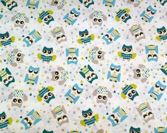 Kids fabric - colorful owls - fabric width