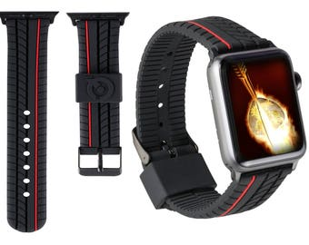 Apple Watch Sports Silicone Band 42mm Red Stripe