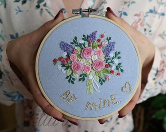 Embroidery Hoop Art design Handmade Declaration Custom Embroidery kit Proposal married Embroidery wedding hoop Anniversary Gift Name Sign
