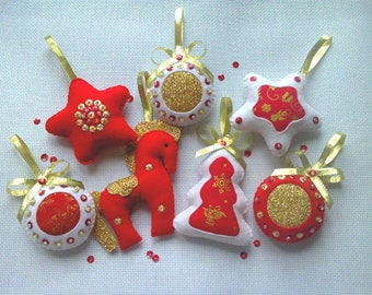 Felt Christmas ornaments Felt Ornaments Set of ornaments Christmas decoration Christmas decor Red Gold