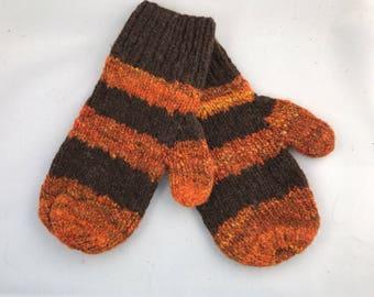 Orange and brown wool mittens