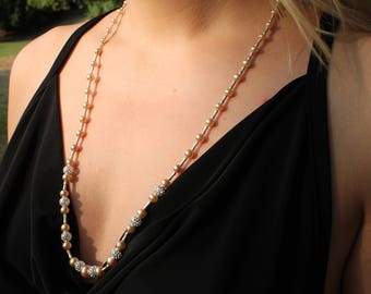 Imitation Pearl and Silver Bead Necklace