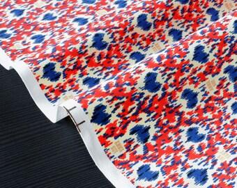 American cotton fabric stiff pattern moiré red blue gold heart x 50cm