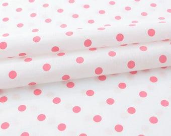 Fabric cotton pink polka dot White x 50cm
