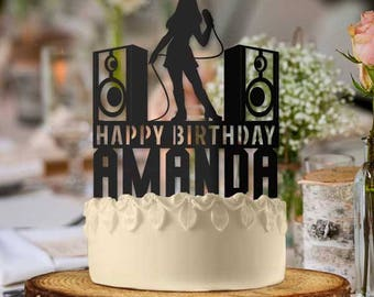 Personalized Karaoke Singer Girl Birthday Cake Topper