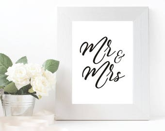Mr and Mrs print, Wedding gift, black and white wedding decor, minimalist wedding, newly married gift, wedding print, wedding poster