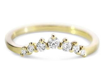 Diamond Ring.  0.20 ct Natural Diamonds.  14k Yellow Gold.  Anniversary Ring.  Birthday Gift.  Fashion Ring
