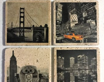 City Images Coasters - Handmade, Stone Coasters - Set of 4 Coasters, 4in x 4in