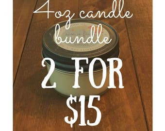 4oz Soy Candle Bundle, mason jar candles, all natural soy, gifts under 25, gifts for her, housewarming gifts, scented candle, holiday candle